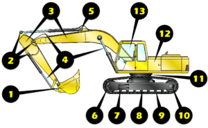 Excavator Inspection Illustration