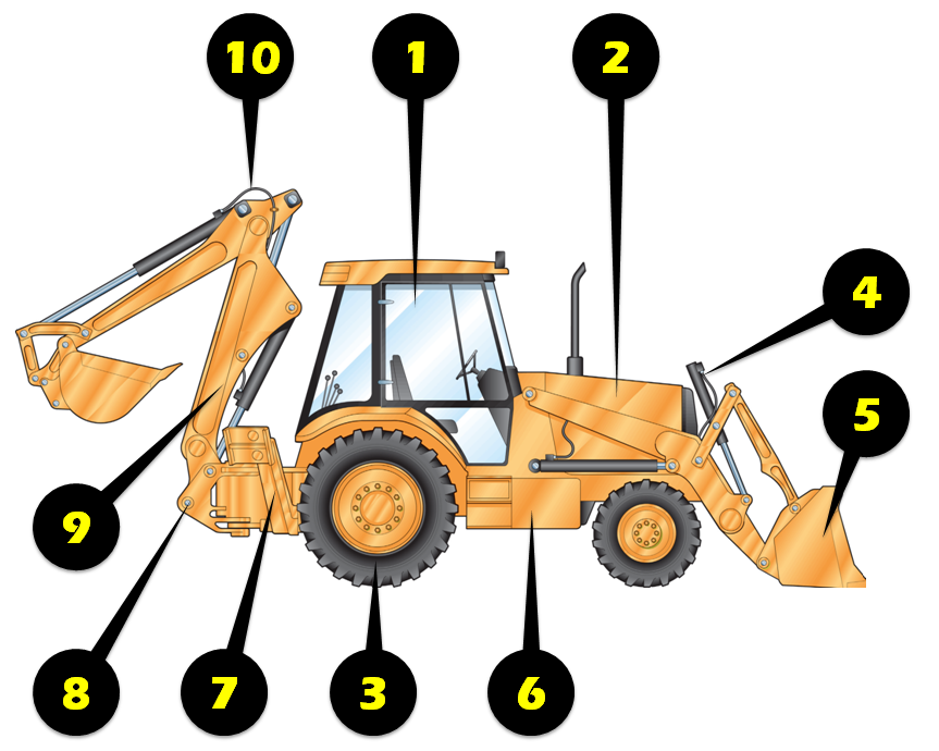 Loader Backhoe Inspection Illustration